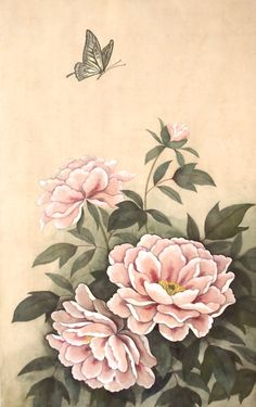 Flower, pivoine / japanese paintingです。 Acrylic Painting Flowers, Peony Flower, Asian Art, Japanese Art, Textile Design, Carpets, Stencils, Oriental, Floral Prints