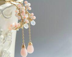 Pendientes Calcedonia de color rosa mariposa aretes aro de