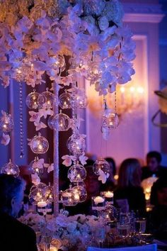 glass bubble tea lights and orchid centerpieces by Tantawan Bloom Orchid Centerpieces, Wedding Table Centerpieces, Centerpiece Ideas, Centerpiece Flowers, Chandelier Centerpiece, Candy Centerpieces, Flower Vases, Floral Wedding, Wedding Flowers