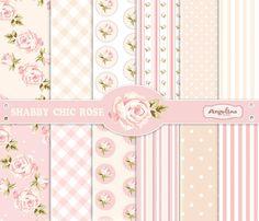 12 Papeles de Scrapbook shabby Chic Rose Digital. 3 imágenes en 1 EPS para scrapbooking digital haciendo de invitaciones tarjeta vectoriales...