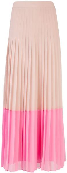 Nude + Neon Colorblock Maxi Skirt