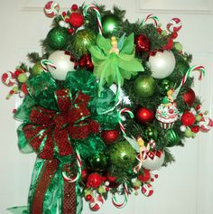 Tinkerbell Christmas Wreath ~ Candy Canes ~ Cupcake ~ Gumdrops (: