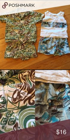 ⭐️Toddler aloha clothes bundle⭐️ Gently used but no stain or damage. They are both very cute and light weight. Purchased in Hawaii. And the size tag says 3T but compared with all the clothes for kids I bought, this one seems little smaller than size 3T. It's more like 2T. Shirts & Tops