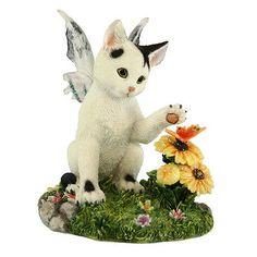 FAERIE GLEN Faerie Tails Fairy Cat Figurine Black and White Cat Darby.