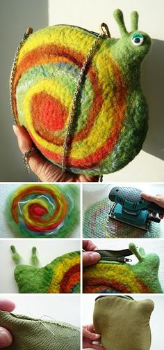 "Funny colorful felted bag tutorial / Валяем сумку ""Улитку"""