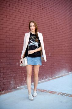 Casual Flare | Vintage tee, blazer, denim skirt, and oxfords | Urban Muse by MarahCAR