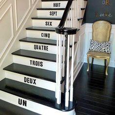 rénovation escalier et idées de décoration noir et blanc avec stickers chiffres