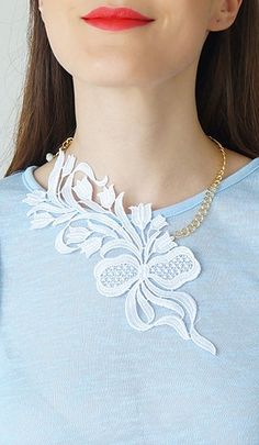 Wedding Necklace Wedding Jewelry White Lace Necklace Statement Necklace Gold Bridal Necklace Bridal Jewelry Gift For Her