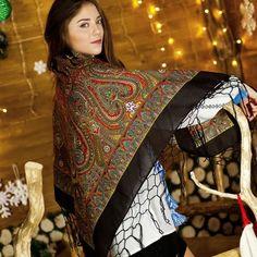 Big Ukrainian black shawl with oriental print by NatsCozyShop