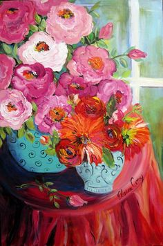 Large Still life Original Oil painting canvas by ElainesHeartsong