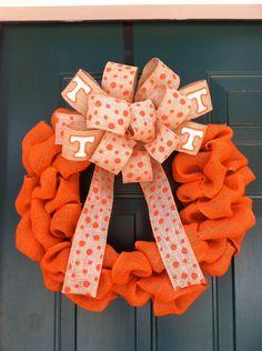 Tennessee Vols Orange Burlap Wreath by wreathsbymc on Etsy