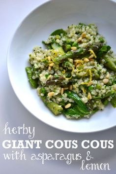 Herby Giant Cous Cous with Asparagus and Lemon is a warm salad with a zingy lemon and walnut oil dressing, peas, baby spinach and pine nuts. Veggie Dishes, Veggie Recipes, New Recipes, Salad Recipes, Cooking Recipes, Side Dishes, Favorite Recipes, Veggie Food, Food Dishes
