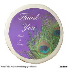 Purple Foil Peacock Wedding Sugar Cookie