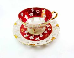 Vintage 1940s Gold Maroon Red 3 Footed Cut Out Hearts Saucer Lusterware Tea Cup Set JAPAN Asian Star Flowers Golden Branches Fine Porcelain