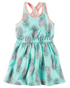 Kid Girl Pineapple Jersey Dress from Carters.com. Shop clothing & accessories from a trusted name in kids, toddlers, and baby clothes.