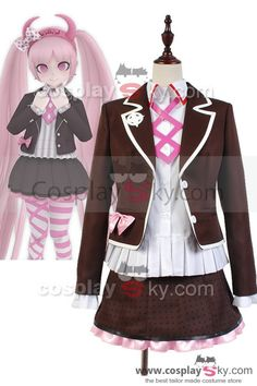Zettai Zetsubō Shōjo: Danganronpa AnotherEpisode Kotoko Utsugi Uniform Cosplay Costume, made in your own measurements