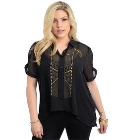 PLUS SIZE 1X Womens Button Shirt LAMIJYA Sheer Solid Black Embellished Hi-Lo Hem #Lamjya #ButtonDownShirt #Clubwear