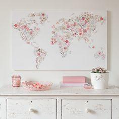 Toile imprimée carte du monde fleuri 80x50   Maisons du Monde
