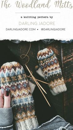 Knitted Mittens Pattern, Fair Isle Knitting Patterns, Crochet Mittens, Knitting Wool, Knitted Gloves, Free Knitting, Knit Crochet, Crochet Pattern, Knit Lace