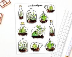 Check out our planner stickers selection for the very best in unique or custom, handmade pieces from our shops. Planner Stickers, Journal Stickers, Bullet Journal Decoration, Easy Doodle Art, Bullet Journal Notes, Plant Drawing, Simple Doodles, Aesthetic Drawing, Kawaii Art