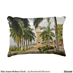 """Accent your decor with a beautiful and exotic  Eliza James McBean Clock Tower VI Pillow - Frederiksted, St. Croix US Virgin Islands  Eliza James McBean Clock Tower VI Pillow 16"""" x 12"""" Accent Pillow"""