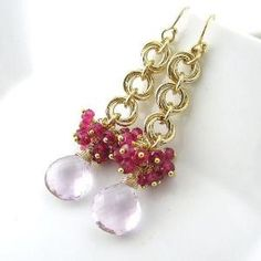 Gemstone Cluster Earrings Chainmail Flower Earrings 14k Hot Pink Quartz Pink Amethyst No. 21 Handmade Fashion Jewelry by wanting