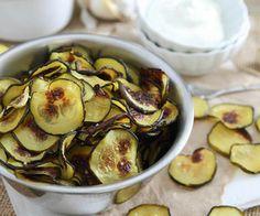 Salt & Vinegar Zucchini Chips With Garlic Yogurt Dip