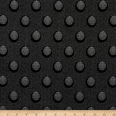 The Steel Collection Abstract Dots Black/Silver Fabric By The Yard