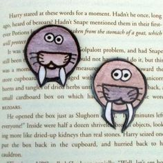 Set of Two Walrus Magnets, Walrus Face Magnets, Refrigerator Magnets, Fridge Magnets, Kitchen Decor, Christmas Gifts, Stocking Stuffers by DivinitysDivineTouch on Etsy