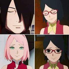 Sarada goes from Sasuke to Sakura in an instant ❤️❤️❤️