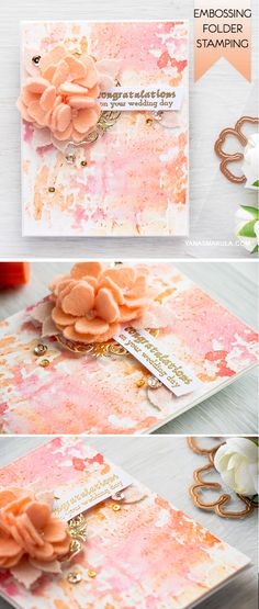 Did you know you can stamp with your embossing folders? Use Blistered embossing folder from Spellbinders and Faber-Castell gelatos to stamp a quick mixed media background. For details and video tutori