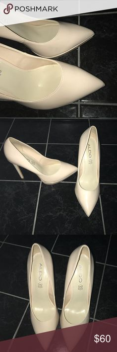 Aldo Beige Pumps Nude Platform 6.5 Patent Leather Like new Nude Patent Leather Heel with platform sole for style and comfort. Dress up for or dress down Aldo Shoes Heels