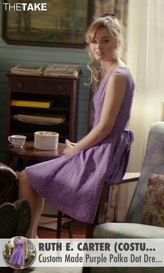 Ruth E. Carter (Costume Designer) Custom Made Purple Polka Dot Dress (Young Amanda) as seen on Young Amanda in The Best of Me | TheTake.com