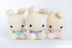 Easter Spring Pastel Amigurumi Bunny Stuffed Toy by momomints, $25.00