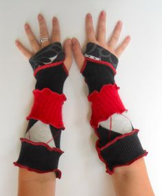 Recycled Fingerless Gloves Arm Warmers