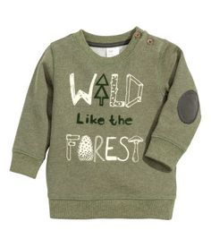 Long-sleeved top in printed sweatshirt fabric with buttons on one shoulder and ribbing at the cuffs and hem. Baby Boy Fashion, H&m Fashion, Kids Fashion, Toddler Boys, Baby Kids, H&m Baby, Baby Boy Outfits, Kids Outfits, Boys Sweaters
