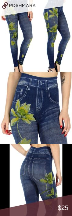 COMING SOON!!! Lotus Denim Print Leggings Beautiful lotus denim print leggings. One size fits 2 to 12. 95% polyester, 5% spandex.   Get 10% off when you bundle two or more items from my closet.      ***If you want me to tag you when they come in, just comment below*** Pants Leggings