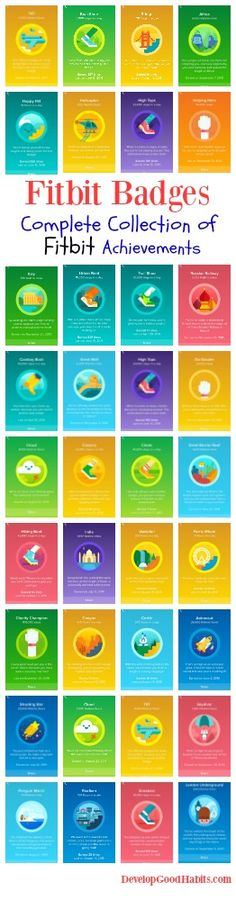 The complete collection of Fitbit Badge achievements. See what achievements you can get on the Fitbit app for: daily steps walked, total miles walked, daily levels climbed, total levels climbed, Fitbi (Step Challenge Fitbit) Fitbit Badges, Fitbit App, Fitbit Charge, Fitbit Flex, Health And Fitness Tips, Fitness Goals, Fitness Motivation, Elite Fitness, Fitness Tracker