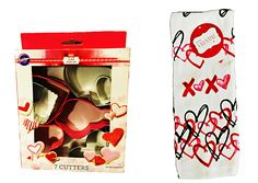Wilton Valentine's Day Cookie Cutters PLUS Kitchen Towel Hearts Hugs & Kisses #ValentinesDay
