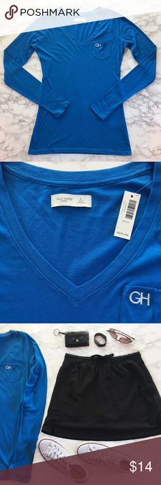 """Gilly Hicks Long Sleeve Tee M NWT Brand new with tags Gilly Hicks long sleeve v-neck tee with a front pocket in royal blue. Super soft cotton/modal blend fabric. This tee tapers at the waist for a flattering fit. Longer than most tees.   Details: * Size M * 60% cotton 40% modal * Machine wash and dry * NWT * Smoke free pet free  Measurements taken flat ▫️Bust: 18 ▫️Length: 27""""  JD.9.17 Abercrombie & Fitch Tops Tees - Long Sleeve"""
