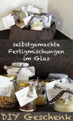 DIY-Geschenk: Geschenkkorb mit selbstgemachten Fertigmischungen im Glas - Anleitung und kostenloses Template