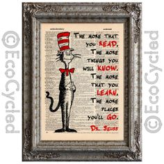 Cat in the Hat 1 on Vintage Upcycled Dictionary Page Dr Seuss Children Adventure Reading. via Etsy.