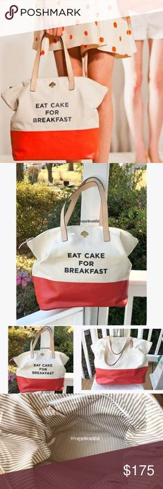 """Kate Spade Eat Cake For Breakfast Tote RARE 100% authentic Kate Spade Eat Cake for Breakfast Tote • preloved condition with some signs of wear to the corner and a small patch on the front (see pic 4) • DIMENSIONS: 16"""" L x 14"""" H x 7""""W • Rare & hard to find, selling for up to $250 in this same condition! • ‼NO TRADES‼ kate spade Bags Totes"""