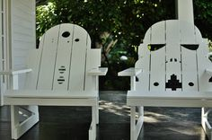 R2 and Stormtrooper hard-carved Adirondack chairs