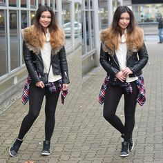 Get this look: http://lb.nu/look/7937318  More looks by Raspberry Jam: http://lb.nu/raspberryjam  Items in this look:  Mode Vision Biker Jacket, Trendfine Turtleneck Sweater, Primark Bag, Oasap Shirt, Sugar Studded Sneakers   #chic #sporty #street #biker #oasap #plaid #fauxfur #collar #fur