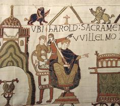 Bayeux Tapestry, dating from the 11th century, an embroidered cloth depicting the events leading up to the Norman invasion of England, and the invasion itself. The tapestry was probably commissioned by Bishop Odo, William the Conquerer's half brother. Musée de la Tapisserie de Bayeux, Bayeux, France.