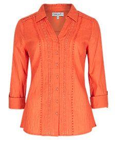 Bright Orange No Peep™ Pure Cotton Crêpe Crinkle Effect Shirt