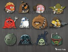 THESE ARE FANTASTIC. Star Wars Angry Birds Cupcake Toppers by TheDesignDog on Etsy, $4.99