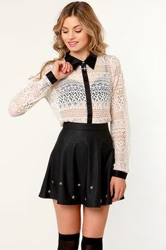 Jumping For Doily Black and Beige Lace  Top