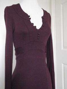 VINTAGE STYLE FIT AND FLARE AUBERGINE JERSEY MAXI DRESS 30 s 70 s SIZE 6 XS